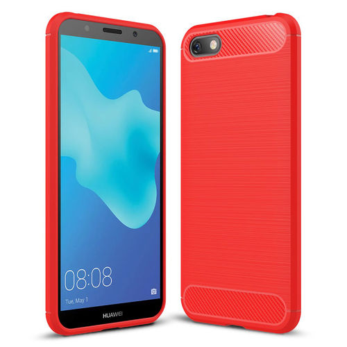 Flexi Slim Carbon Fibre Case for Huawei Y5 (2018) - Brushed Red